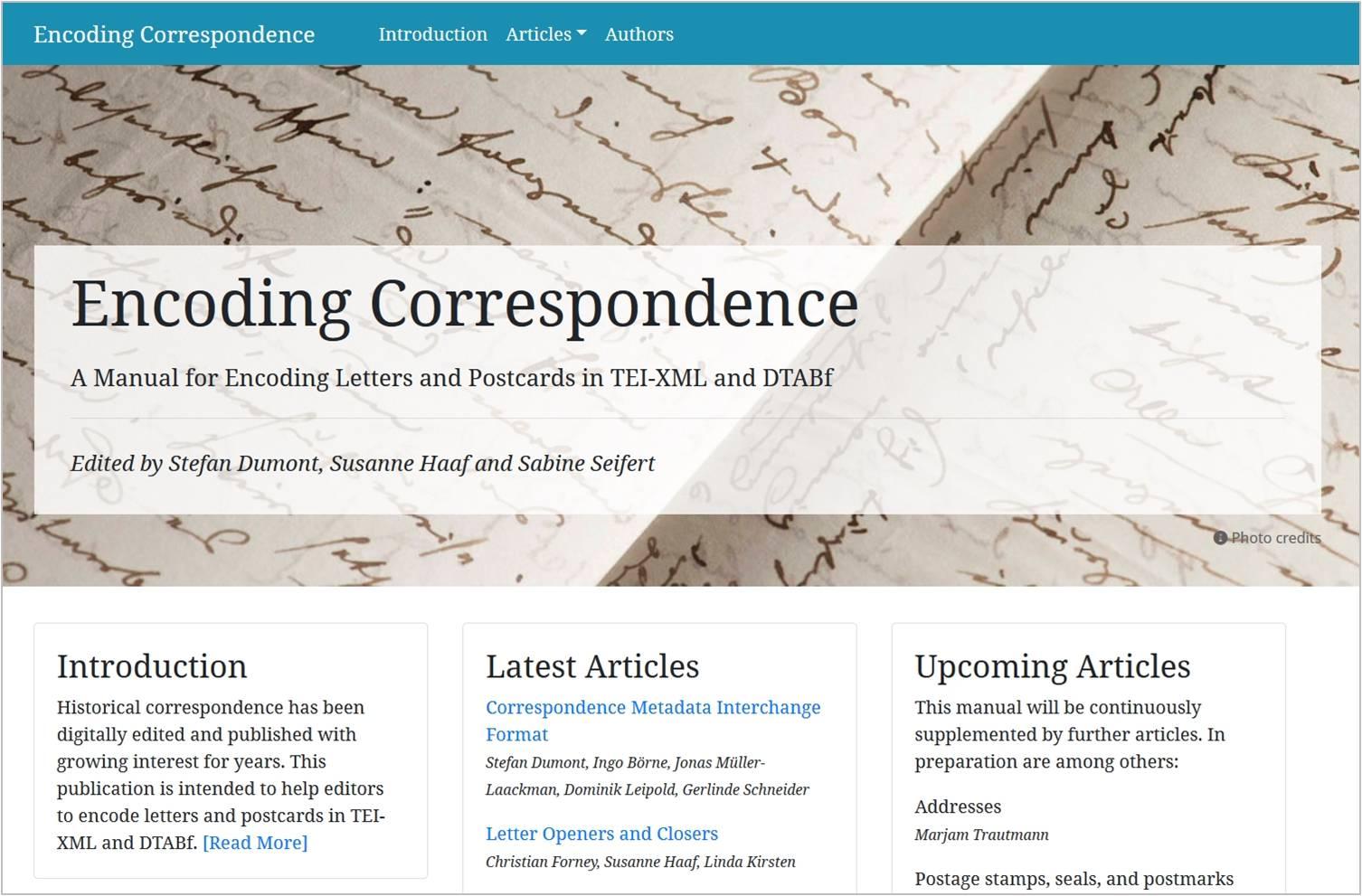 Screenshot der Encoding-Correspondence-Website