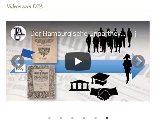 Screenshot der Rubrik Videos zum DTA